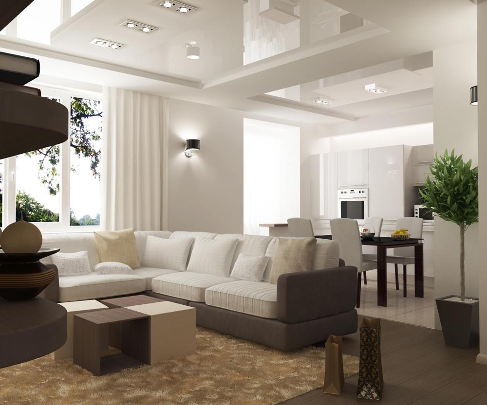 С зонированием пространства в гостиной-кухне прекрасно справятся как освещение, так и цветовое оформление