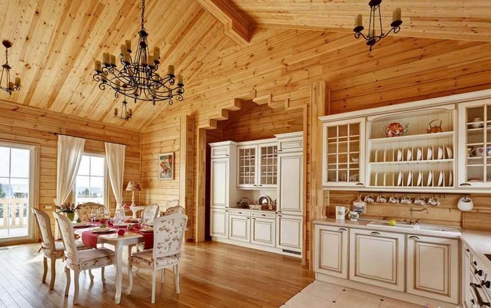 При выборе мебели для кухни в деревянный дом не стоит забывать о том, чтобы она была прочной и практичной