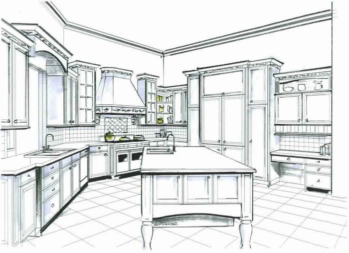 Дизайн-рисунки кухни позволяют продумать схему расположения мебели и бытовых приборов