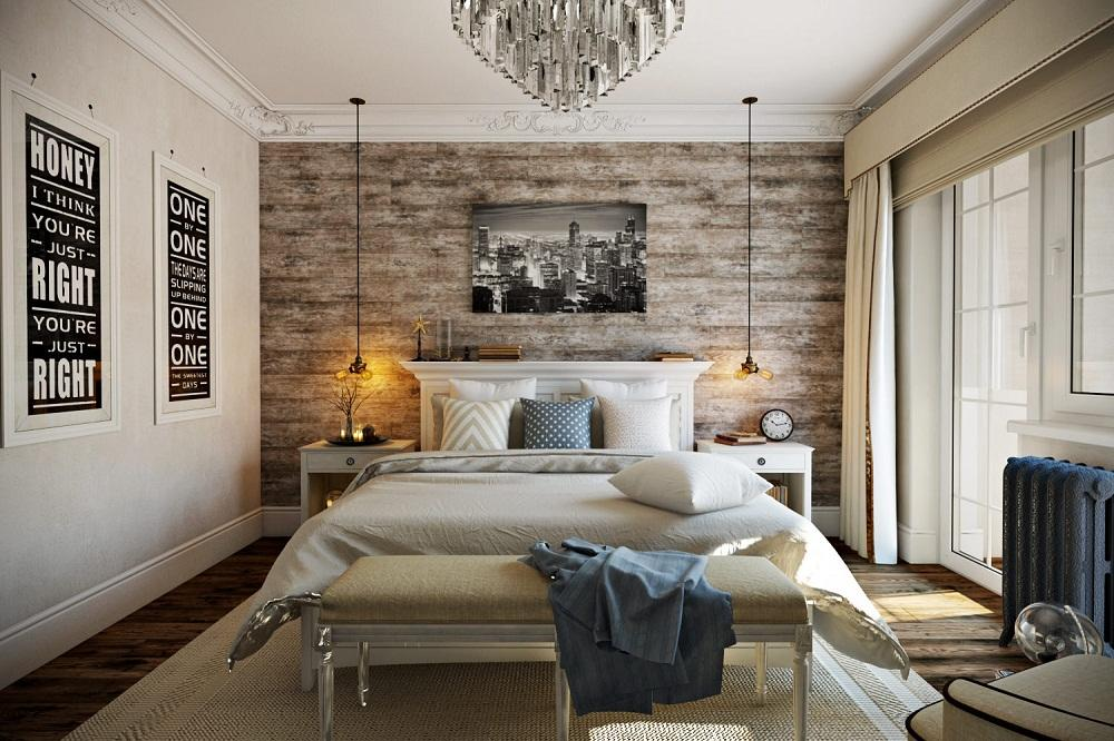 В интерьере спальни, выполненном в классическом стиле, рекомендуется располагать тумбы возле кровати с каждой стороны