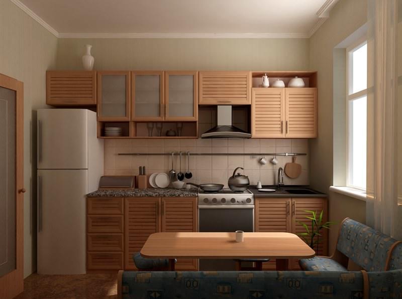 Достаточное количество модулей кухонного гарнитура в одну линию можно расположить в кухне 6 кв м, если она имеет прямоугольную форму