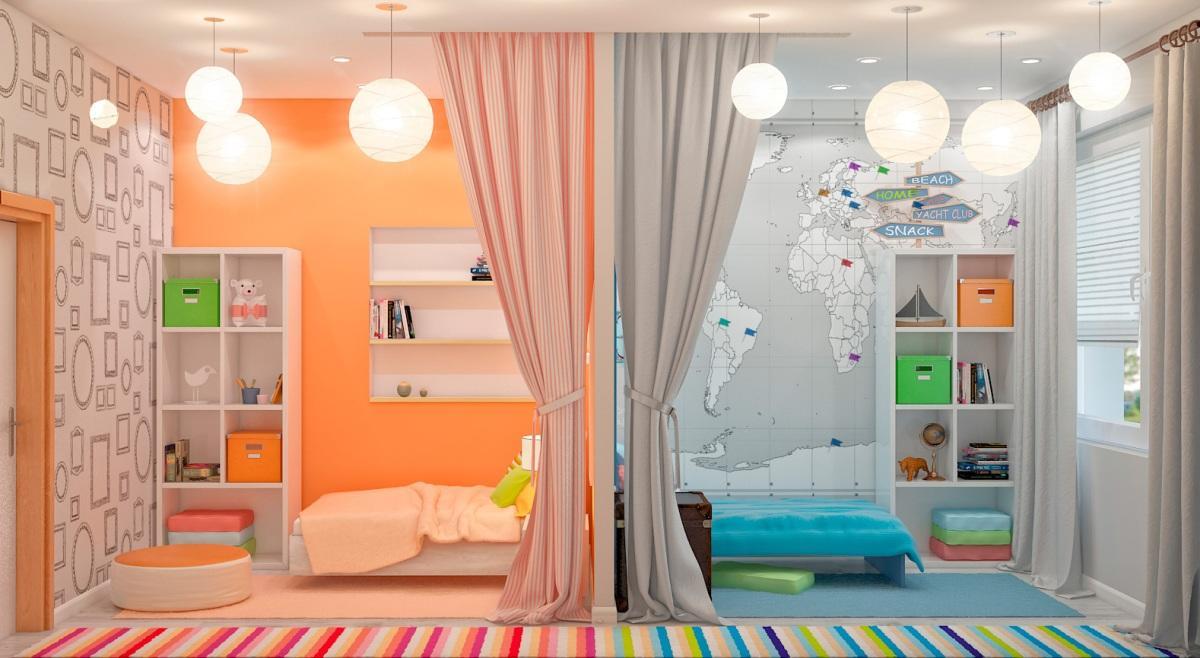 Стильно разделить комнату для девочки и мальчика можно при помощи стенки из гипсокартона или же используя зонирование цветом