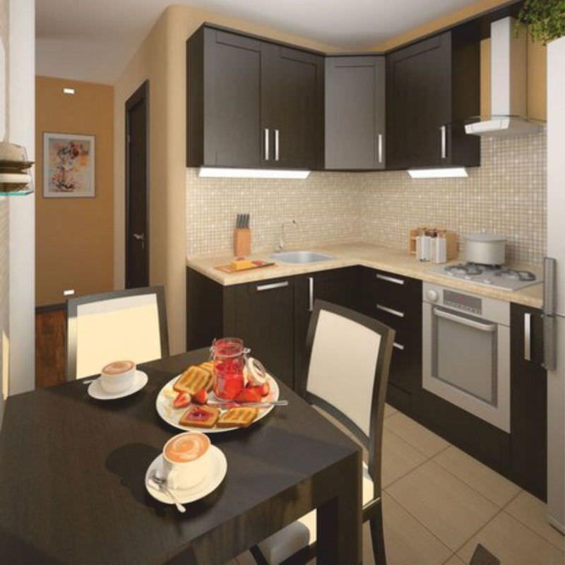 Угловое расположение мебели в маленькой кухне – стандартный дизайнерский прием