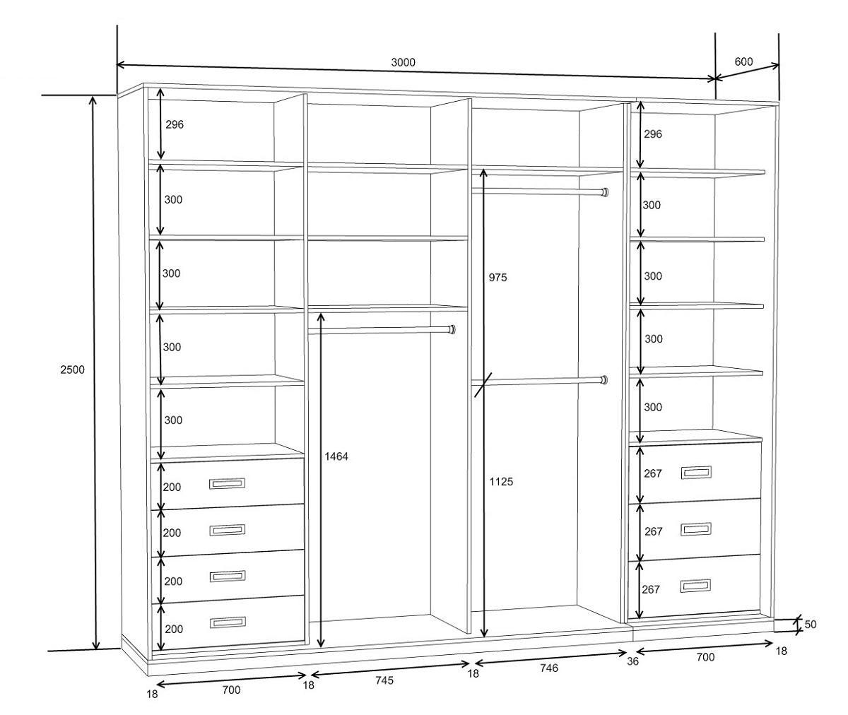 Больше всего места в шкафу-купе следует отводить на отдел, где будет располагаться верхняя одежда