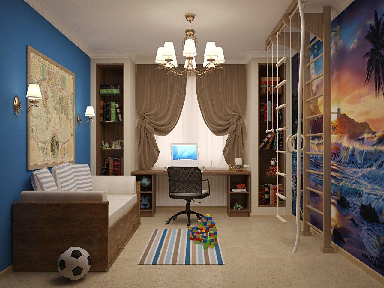 Незаменимыми предметами интерьера в мальчиковой спальне являются кровать, письменный стол, небольшой шкаф и спортивный уголок