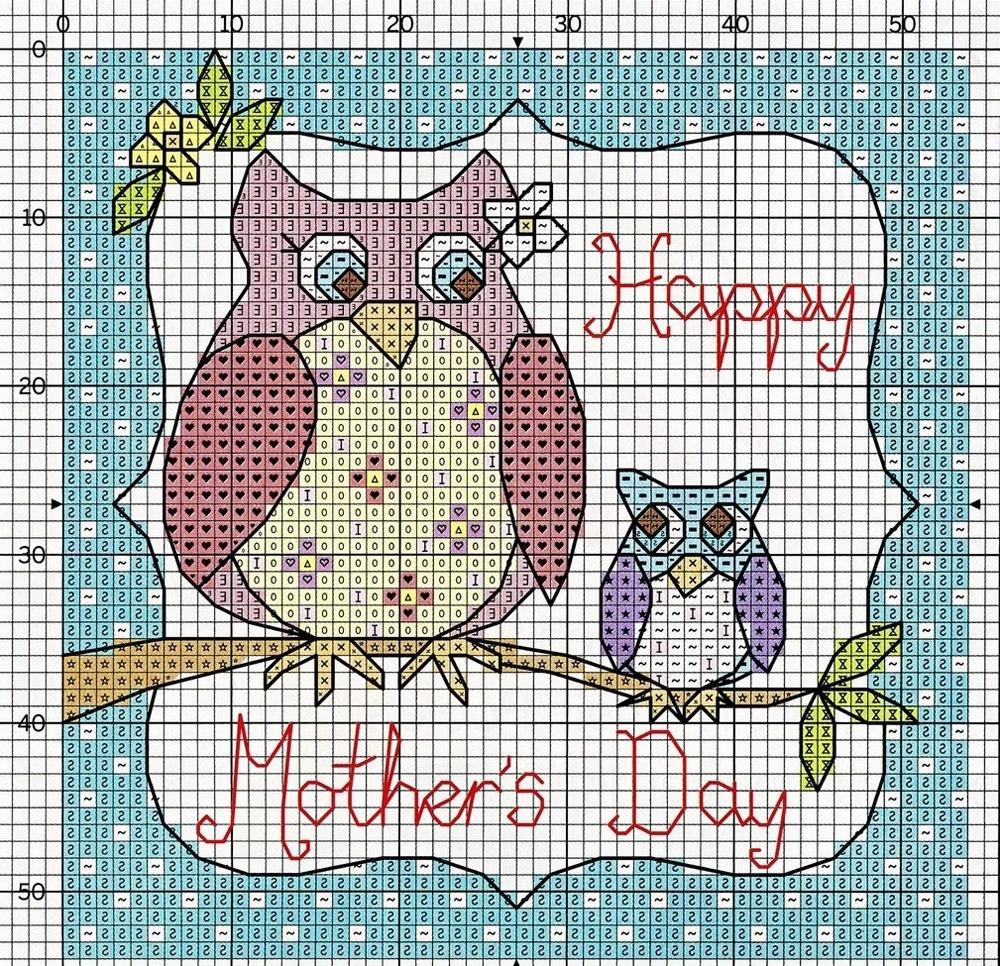 В качестве схемы для вышивки матери отлично подойдет эскиз, на котором изображен птенец и его мать