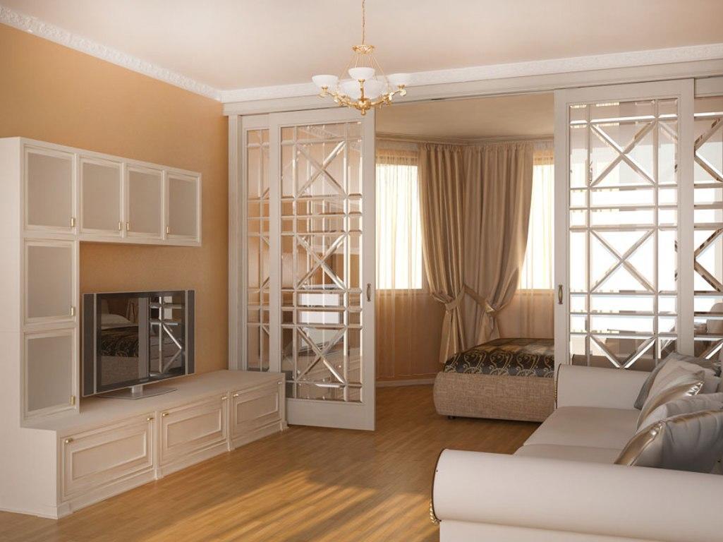 В квартире маленьких размеров зонировать помещение можно при помощи стильной перегородки