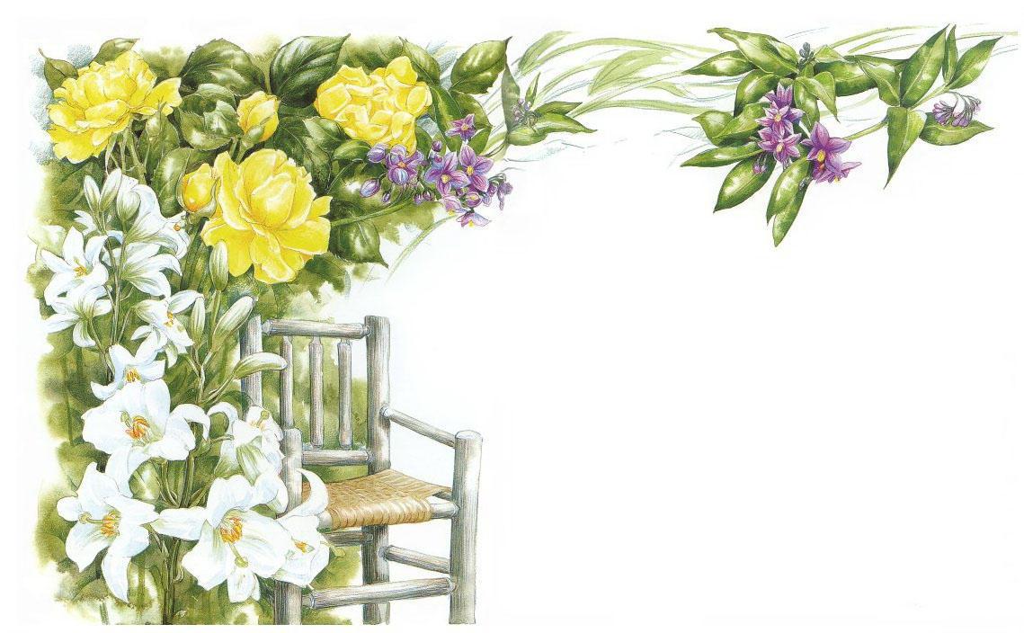 В качестве декоративных элементов к цветам подходят различные предметы мебели, например, стул