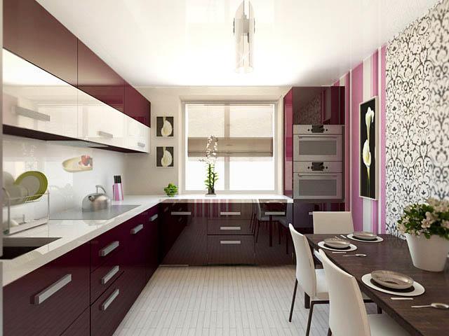 Если планируете бюджетный ремонт, то рекомендуем использовать для отделки стен обои. Чтобы дизайн кухни не стал однообразным и монотонным, - лучше приобрести обои нескольких расцветок и фактур, комбинируя их на разных участках стены