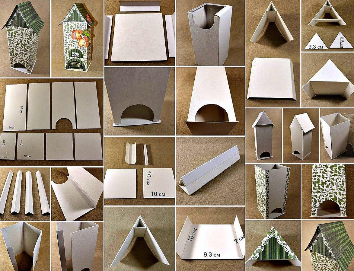 Для того чтобы изготовить домик из картона, следует сперва потренироваться в черчении для правильного рисования шаблона