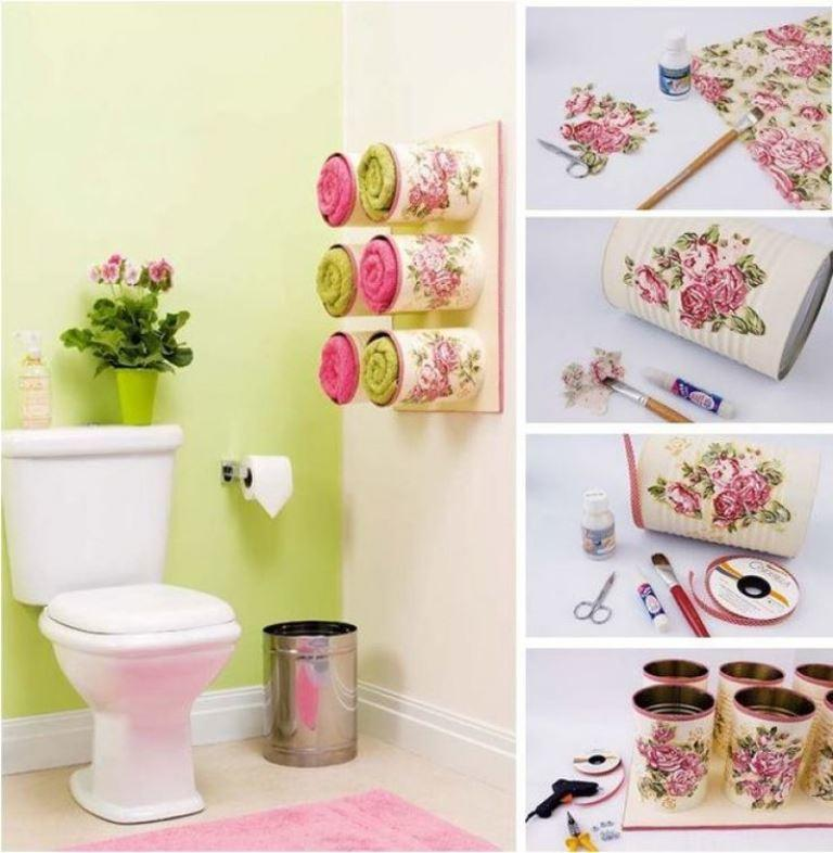 Техника декупаж позволит неординарно и красиво обустроить интерьер ванной комнаты