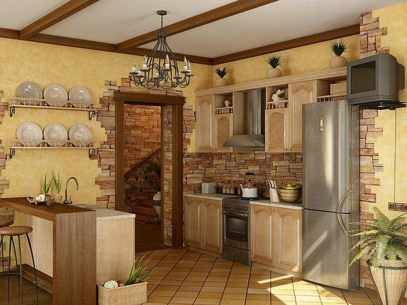 Красиво оформленные стены кухни станут хорошим фоном для обустройства интерьера