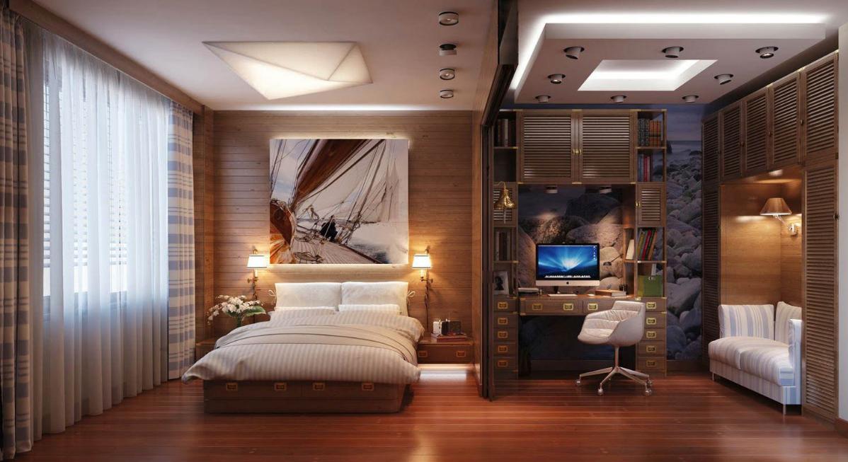 Совмещая спальню с рабочим кабинетом, необходимо делать для каждой зоны отдельное освещение
