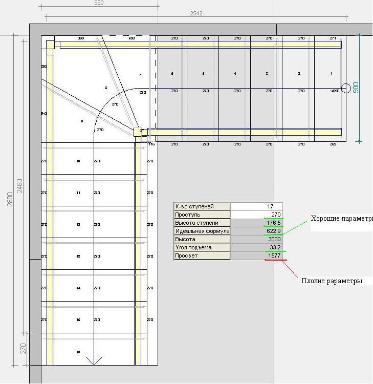 Используя онлайн-калькулятор, можно получить чертеж, а с ним - точное количество материала, необходимое для строительства лестницы