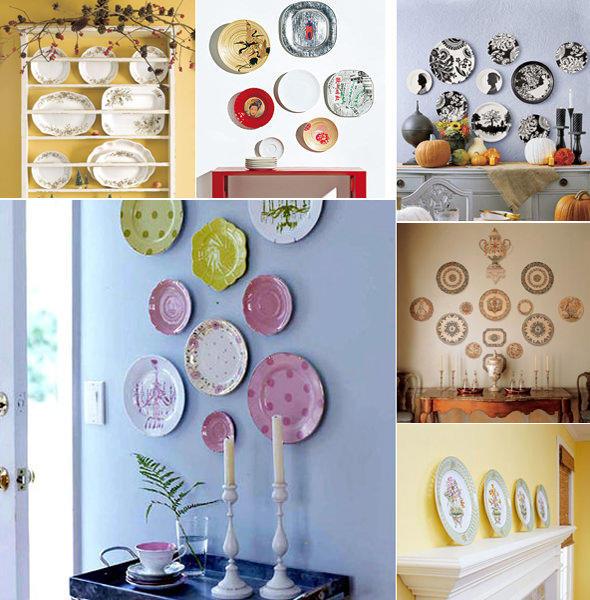 Коллаж из тарелок со всевозможными рисунками - отличная идея разбавить интерьер кухни новыми красками
