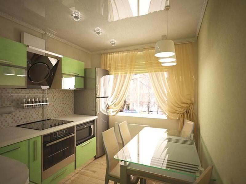 Двухрядная планировка – самый распространенный вариант для кухни 8 кв м
