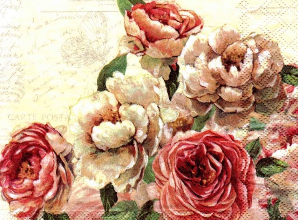 С помощью салфетки с изображением винтажных роз можно легко оформить подарок в технике декупаж девушке на любой праздник