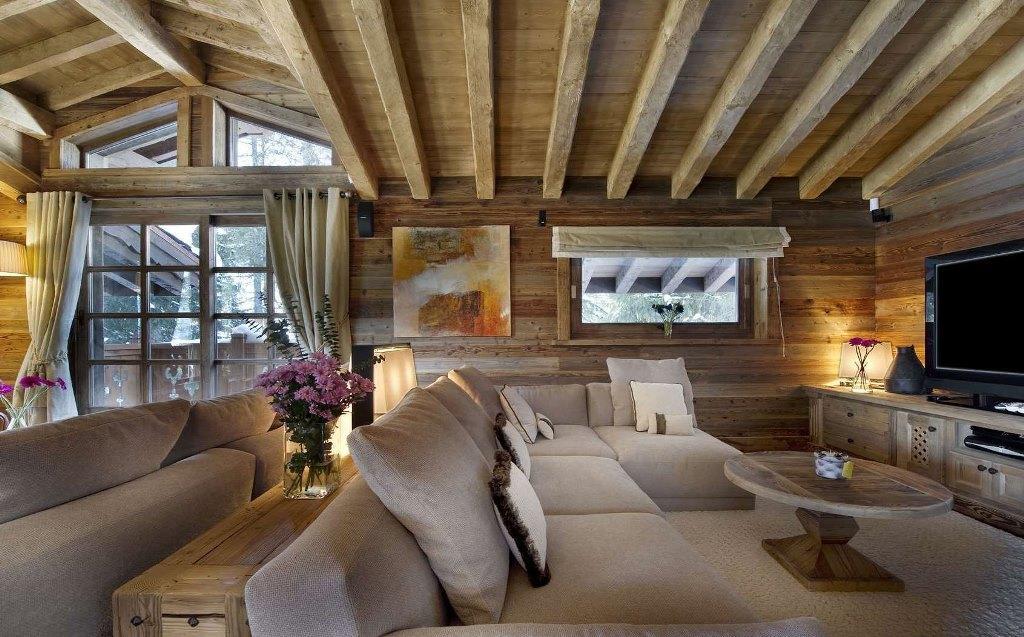 Гостиная в стиле шале: интерьер, фото кухни, дизайн с камином