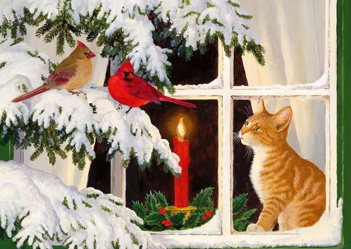 Картинка, на которой изображен кот возле окна, смотрящий на заснеженную елку, хорошо подойдет для изготовления декоративного элемента новогодней тематики в технике декупаж