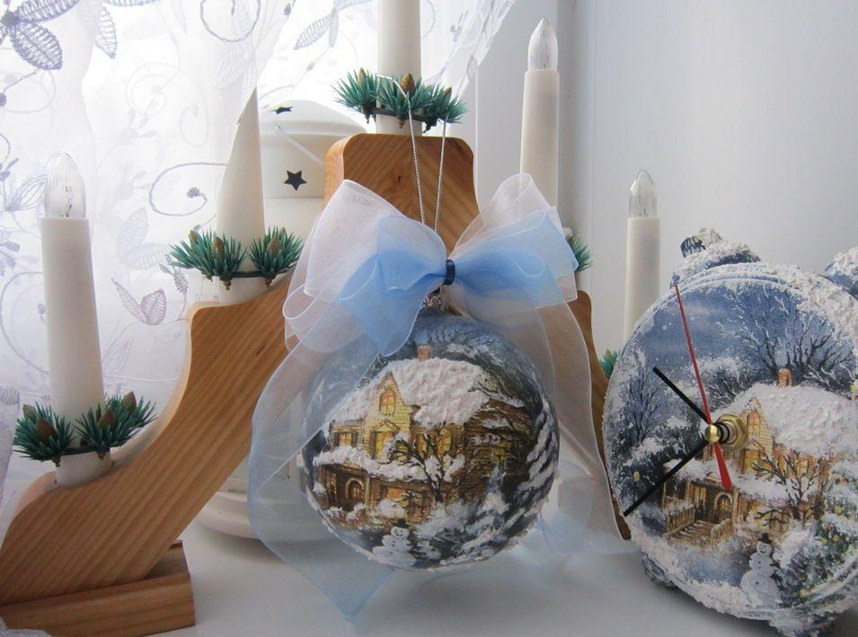 С декупажем новогоднего шара из пенопласта сможет с легкостью справиться даже начинающая рукодельница