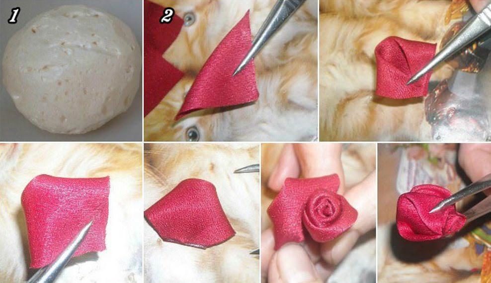 В качестве основания берется шар из макрофлекса, фиксируется на стволе. Для роз необходимо заготовить множество квадратиков ткани с длиной стороны около 5 см. Как изготовить лепесток – показано на рисунке. Для одной розы понадобится от 5 лепестков и выше – зависит от размера будущего бутона