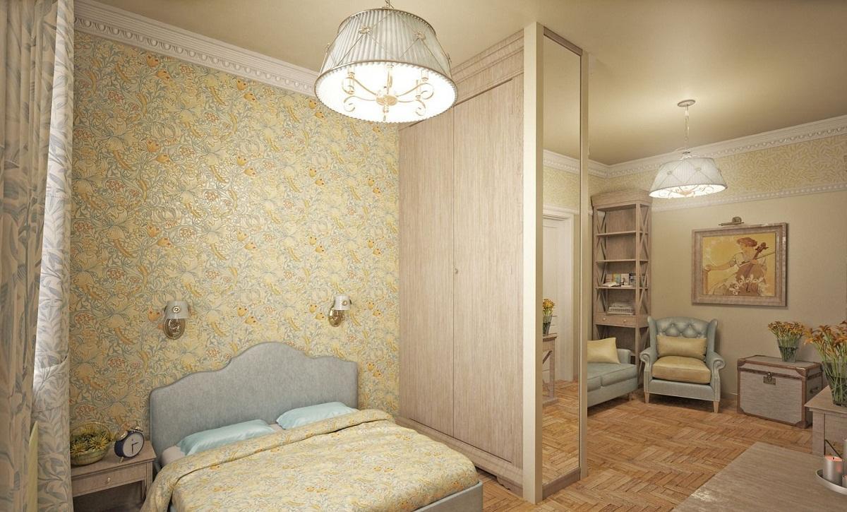 Разместив между зоной спальни и гостиной шкаф, можно существенно сэкономить не только пространство, но и финансы, поскольку не нужно покупать материалы для перегородки