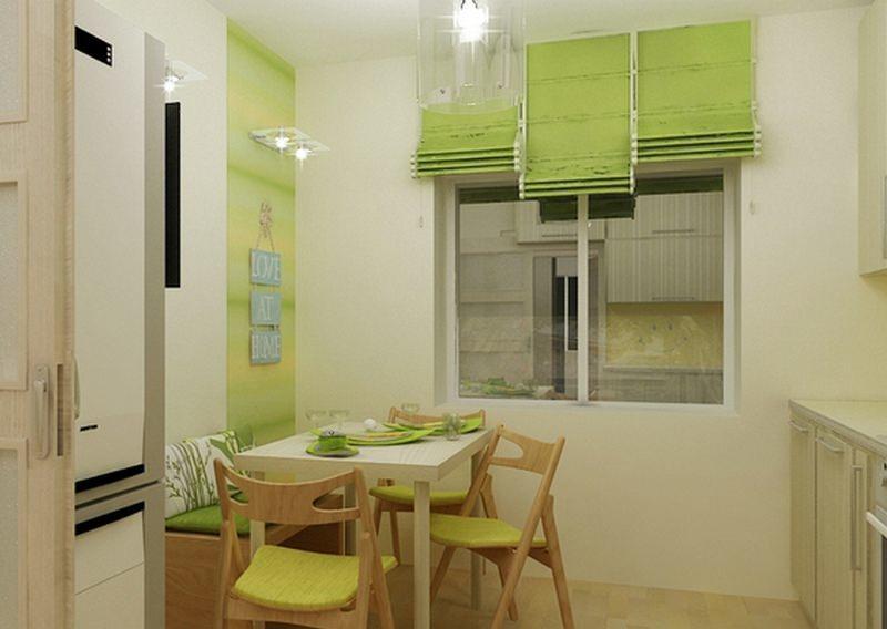 Небольшой обеденный стол со складными стульями – один из наиболее оптимальных вариантов для кухни в 5 5 кв. м