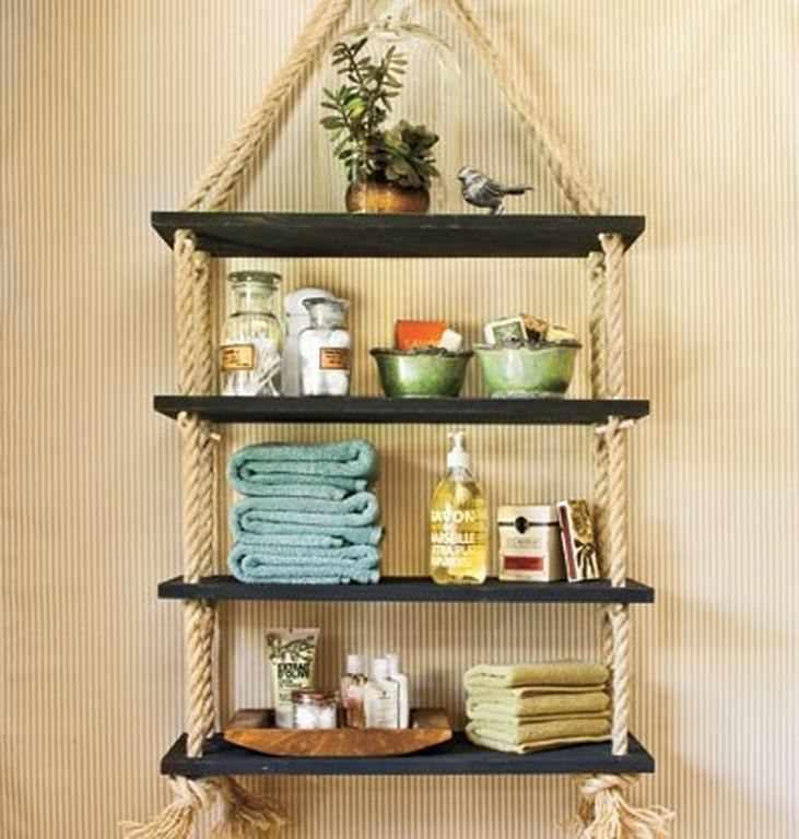 Полка на канатах – оригинальный и простой способ украсить стену в любой комнате