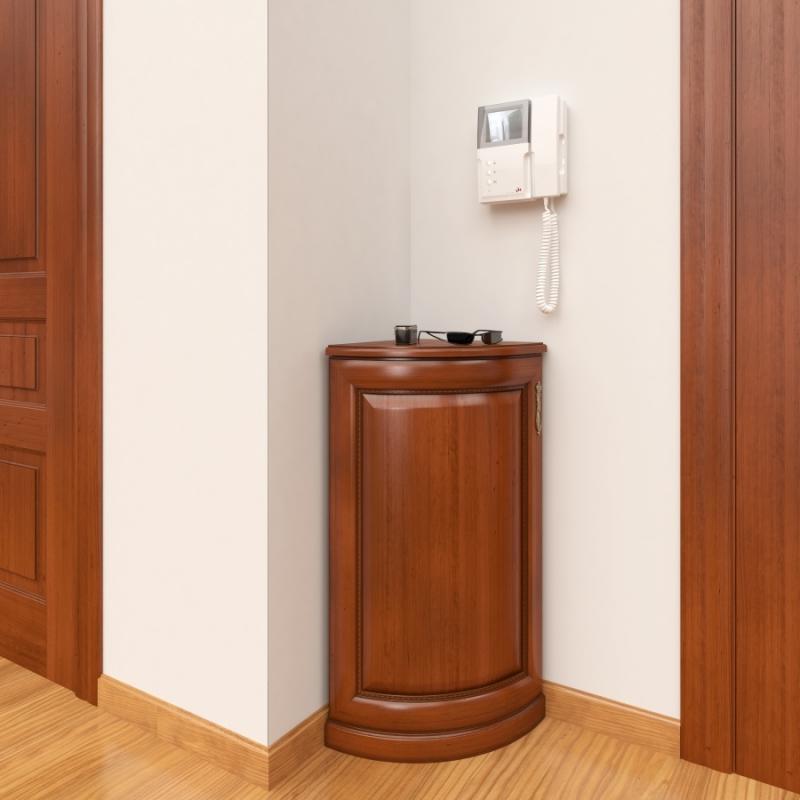 Угловая тумба не займет в коридоре много места, а разместить ее можно несколькими способами
