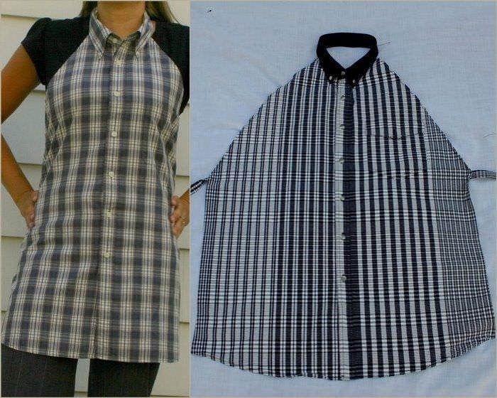 В качестве основного материала для пошива фартука берется готовая мужская рубашка