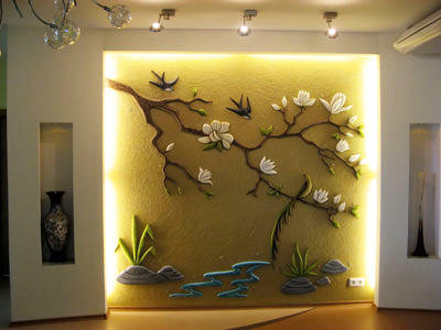 Объемный рисунок на стене в сочетании с правильной подстветкой превращается в предмет искусства