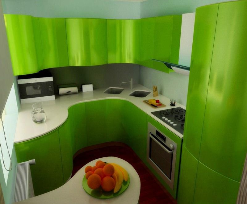 Плавные линии мебели и естественные цвета холодных оттенков ее фасадов, идеально походят для кухни в 6 кв. м
