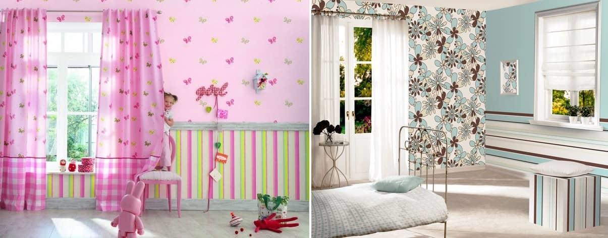 Оклейка стен разными обоями смотрится красиво, оригинально и неповторимо, главное — это правильно подобрать цвета и рисунки