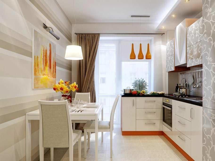 Для оформления длинной и узкой кухни также подойдут светлые тона