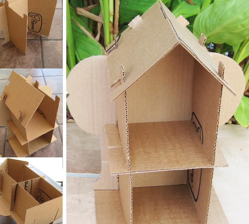 Достаточно просто и быстро можно смастерить дом для барби, используя обычные картонные коробки