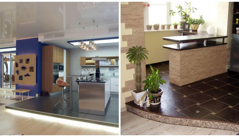 Обман зрения с подиумом на кухне заметно увеличивает свободное пространство