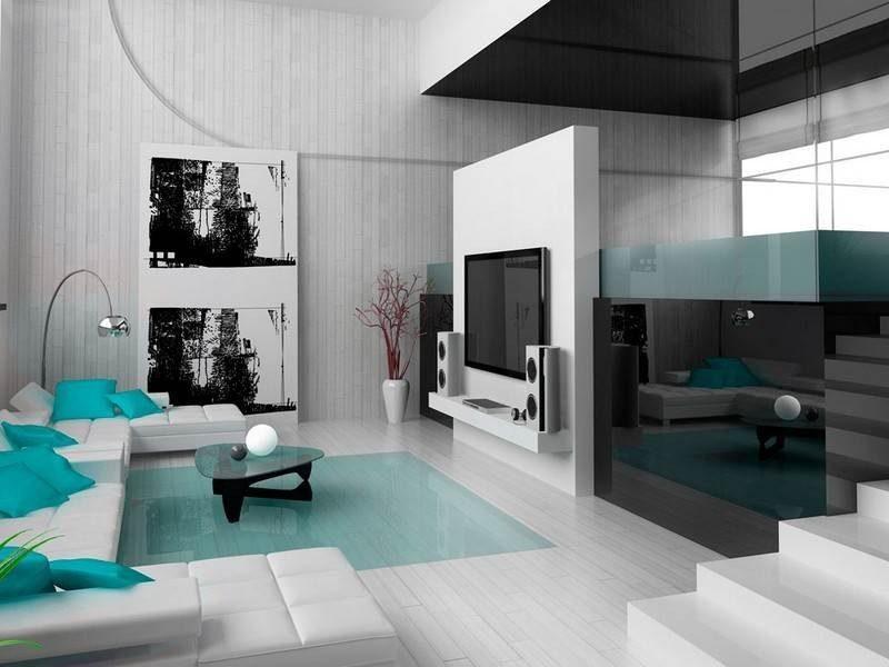Стиль хай-тек предполагает использование стильного и глянцевого натяжного потолка