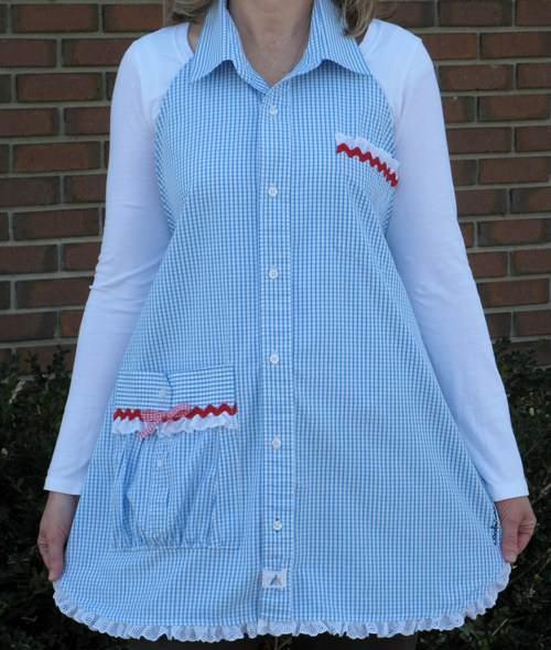 Фартук из мужской рубашки можно изготовить без шитья