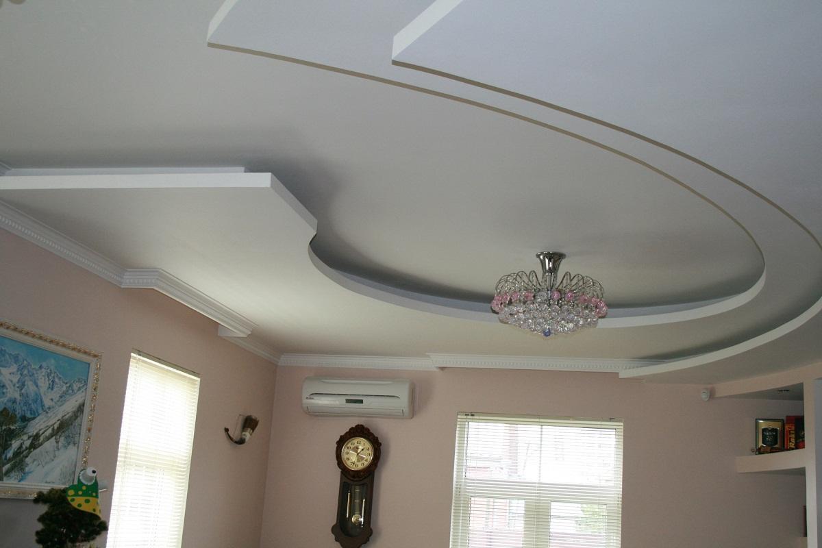 Двухъярусные потолки из гипсокартона: фото, с подсветкой своими руками, видео