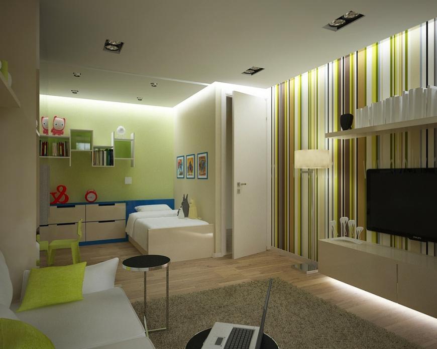 Разделить комнату на родительскую и детскую зоны можно также с помощью обоев