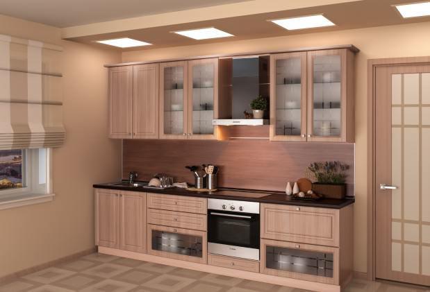 Для того чтобы кухня не выглядела загроможденной, можно установить прозрачные дверцы