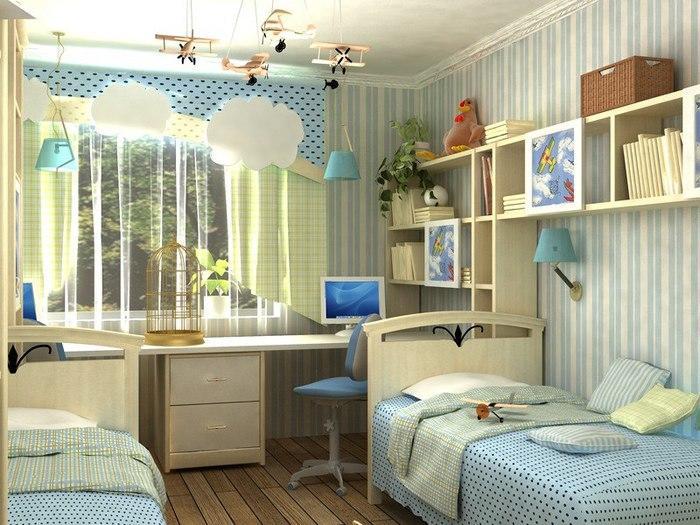 На такой площади вполне можно организовать удобное, комфортное, функциональное пространство, в котором будут отлично чувствовать себя оба ребенка