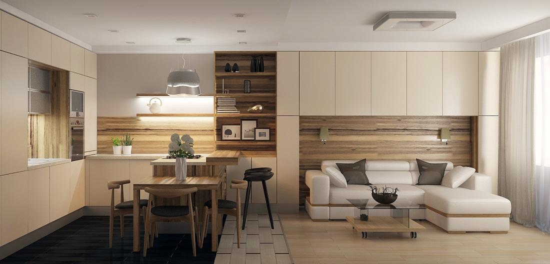 Визуально разделить зоны кухни-гостиной можно с помощью разных видов напольных покрытий