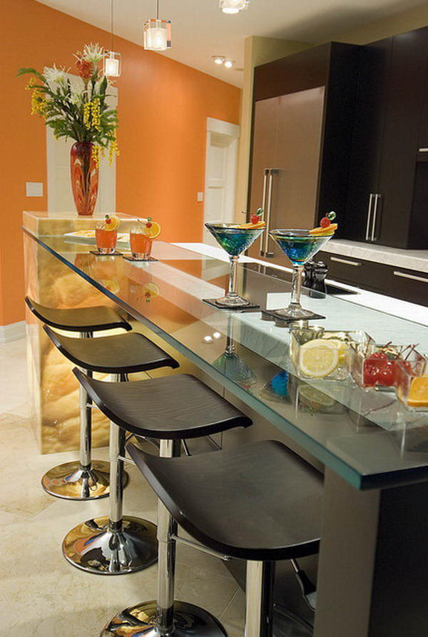 Для большинства современных кухонь барная стойка является и декоративным и функциональным элементом интерьера