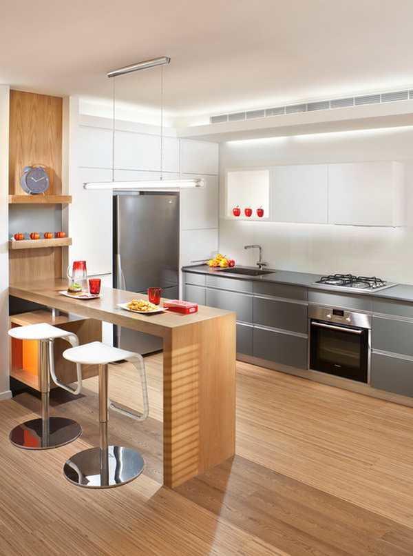 Если правильно выбрать барную стройку для кухни, то вы сможете сэкономить очень много места: это очень актуально для комнат небольших размеров