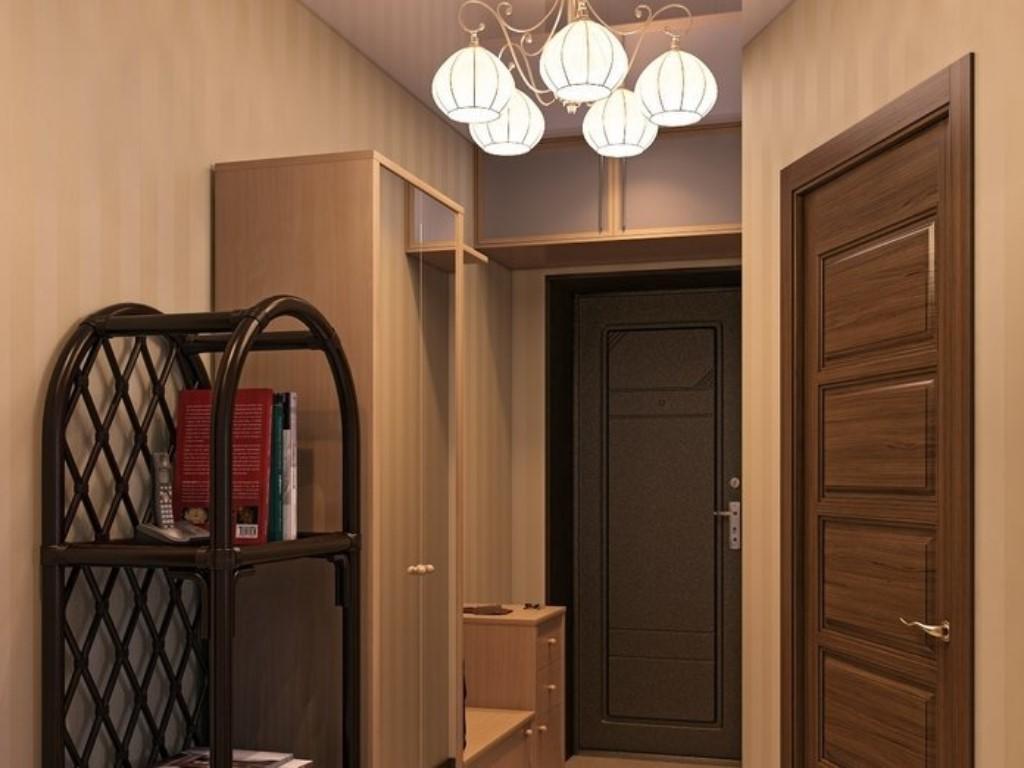 Для отделки стен в маленькой прихожей лучше подбирать обои светлых цветов