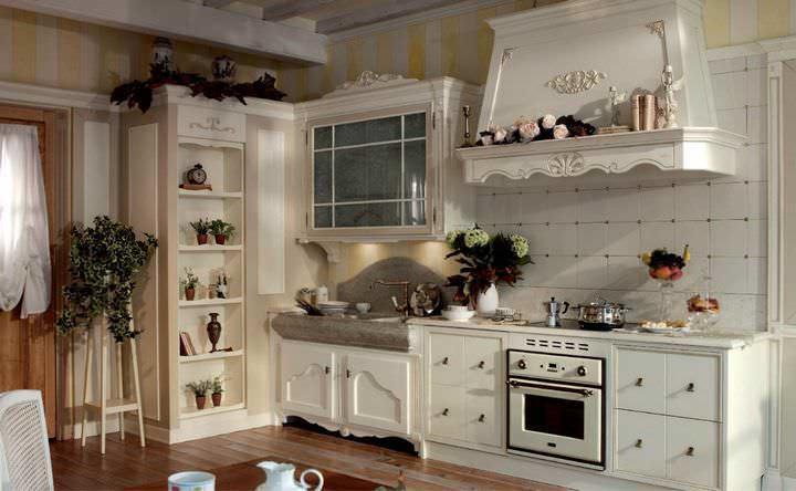 Пол кухни во французском стиле должен иметь более темный оттенок, нежели гарнитур