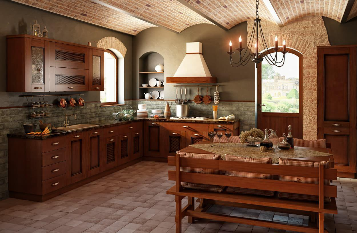 Кованая люстра отлично подойдет для кухни в деревенском стиле