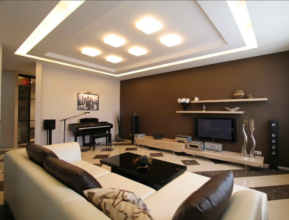 Оформляя гостиную в бежево-коричневых тонах, необходимо в интерьере использовать больше бежевого цвета, чем коричневого