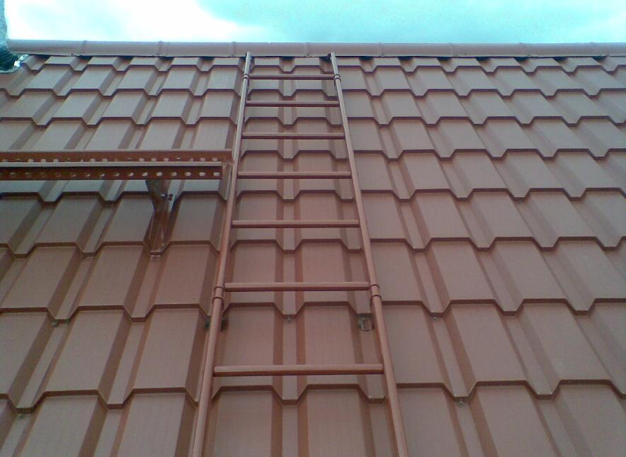 Лестница на конек крыши может быть изготовлена из дерева или металла